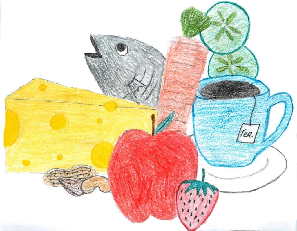 photo of fish, cheese, carrots, cucumbers, tea, strawberries, apples, and nuts that can help your teeth