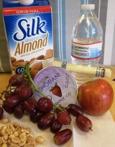photo of healthy foods, grapes, apples, water, milk